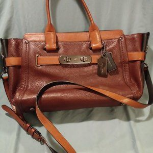 Coach Swagger Colorblock 3 Ginger Leather Tote